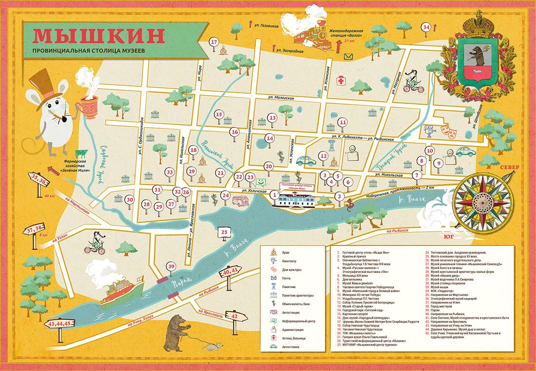 Карта достопримечательностей Мышкина